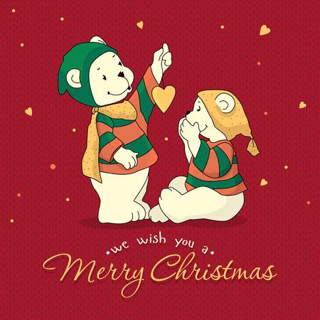 Deux ours polaires se saluent joyeux Noël.