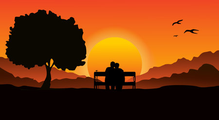 An elderly couple sitting on a bench in a mountainous area, next to a large tree. Look at the beautiful sunset. Ilustração