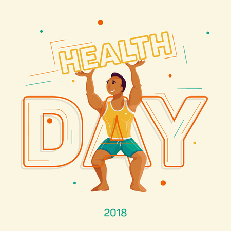 Health day. Sporty man in t-shirt and shorts holding the word health. Vetores