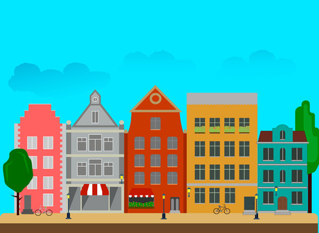 City street with tall buildings made in a flat style.