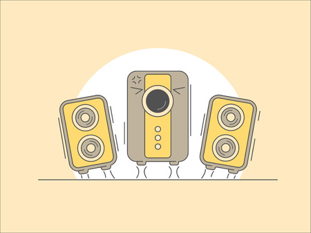 Music speakers with subwoofer cartoon illustration.