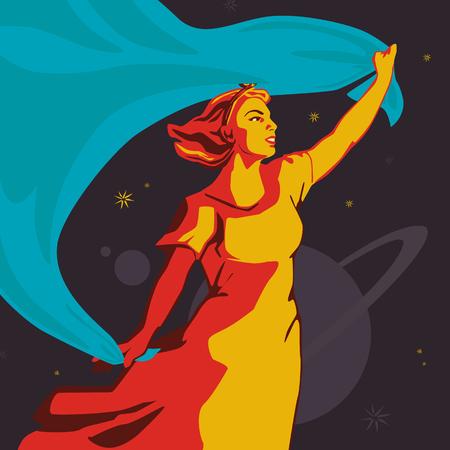 Une fille debout avec un grand drapeau en développement bleu. Illustration vectorielle.