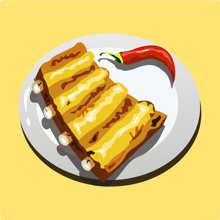 Fried pork ribs on red hot pepper. Vector illustration.