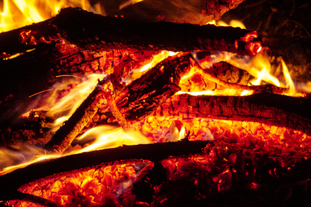 Burning fire with firewood at night, close up.