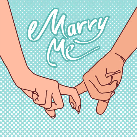 The image of the hands of a couple with their forefingers clasped with the words Marry me