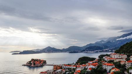 Sveti Stefan island in Budva in a cloudy day, Montenegro.