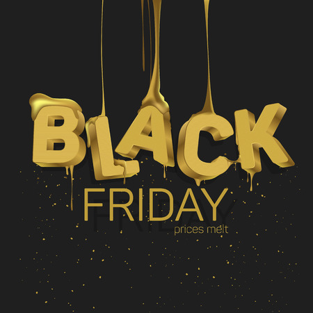 Word black friday in yellow letters which are dripping honey word