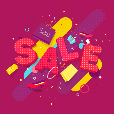 Banner sale in the style of pop art and 3D. Scattered women's things on the background of the word sale.