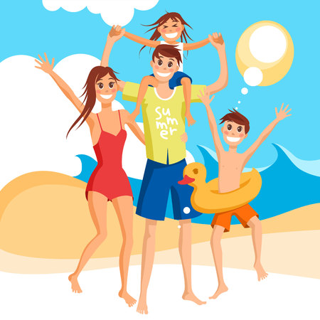 Happy family vacation together on the beach, vector illustration.