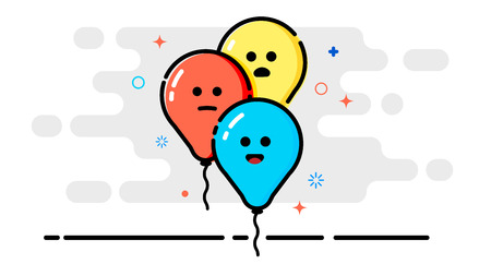 Three air colored balls with emotions in the style of cartoons.