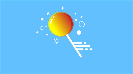 Image of an orange Lollipop on a stick on a blue background.
