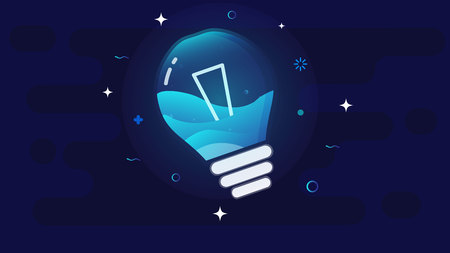 Glowing incandescent lamp against the night sky, inside the lamp splashing sea waves. Ilustração