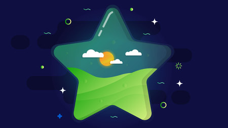 A large transparent star inside of which is a green lawn, sun and clouds. On a dark cosmic background.