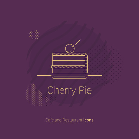 Icon in the form of a piece of cake with a cherry. For restaurants and cafes. Ilustração