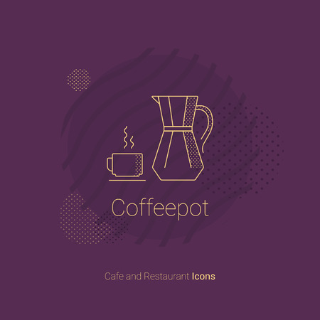 Coffee pot icon with a cup of hot coffee. For restaurants and cafes. Ilustração