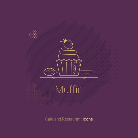 Muffin icon with strawberries for restaurants and cafes. Ilustração