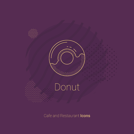 Icon of donut with icing for restaurants and cafes.