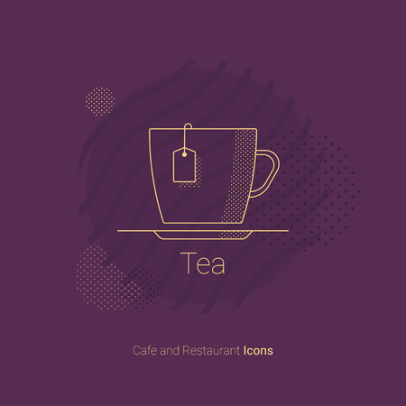 Icon Cup of tea with a tea bag inside. For app, restaurants and cafes.