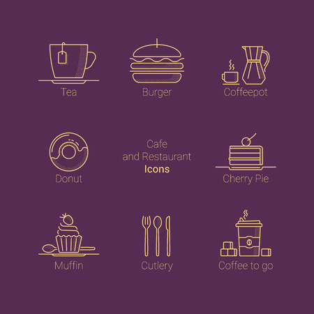 Set of icons with food and drinks for restaurants and cafes. Ilustração