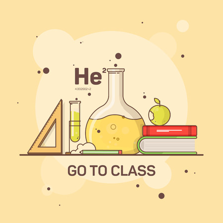 Flat image of school and student supplies for chemistry and study.