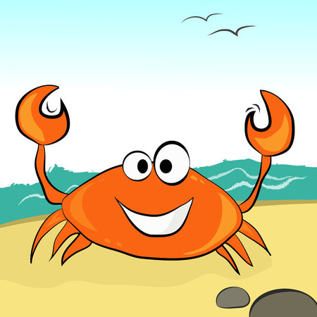 Orange crab with a smile in the afternoon on the sandy beach. Ilustração