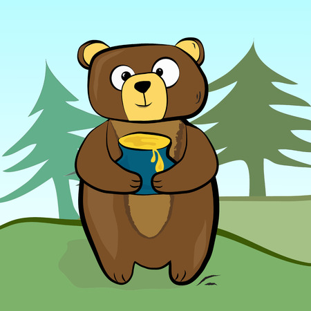 Bear standing with a pot of honey in his paws on the background of the forest.