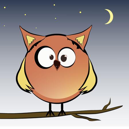 Owl sitting on a tree branch at night. Illustration