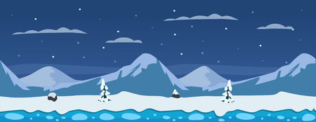 Horizontal winter background with mountains, snow, ice and pine trees. Ilustração