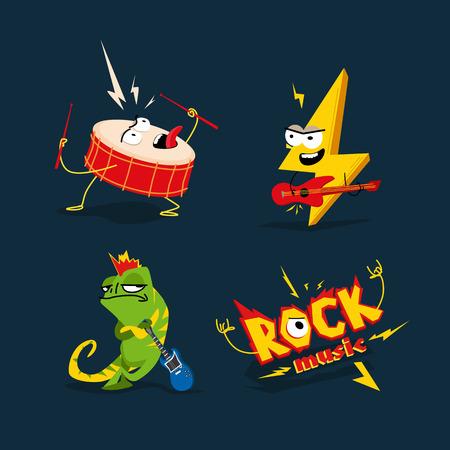 Set of 4 cartoon illustrations on the theme of rock. Ilustração