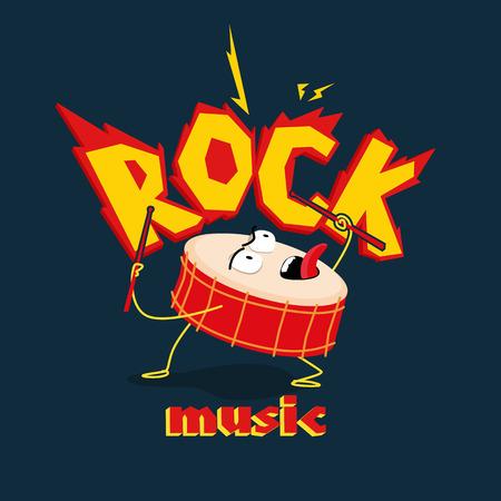 Image of crazy drum in rock style. Stock Illustratie