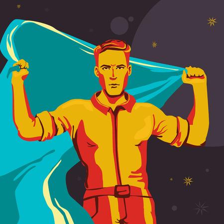 Un hombre erguido con una gran bandera. Ilustración del comunismo en colores azul y naranja.