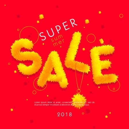 The word Sale from the abstract yellow fluffy substance on red background.