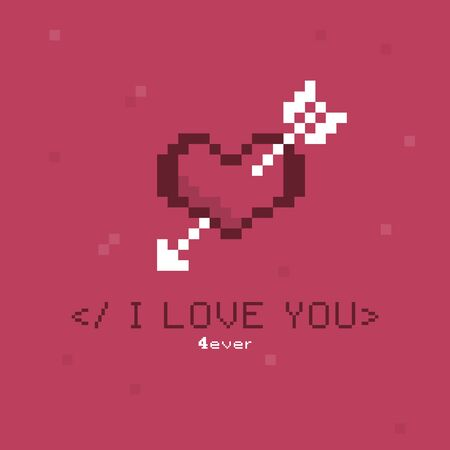 Illustration with heart and arrow for valentines day in pixel style. Slash i love you. Ilustração