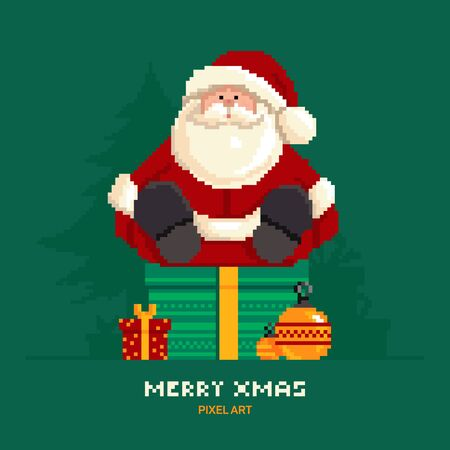 Santa Claus sitting on a green background with Christmas trees in pixel style.