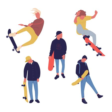Illustration group of men with skateboard are doing different move. Teenagers culture. Ilustração