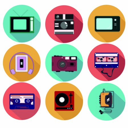 Old multimedia set of 9 icons. Player, TV, Camera, Cassette.