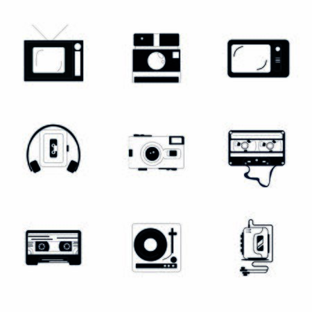 Old multimedia monochrome icons. Player, TV, Camera, Cassette.