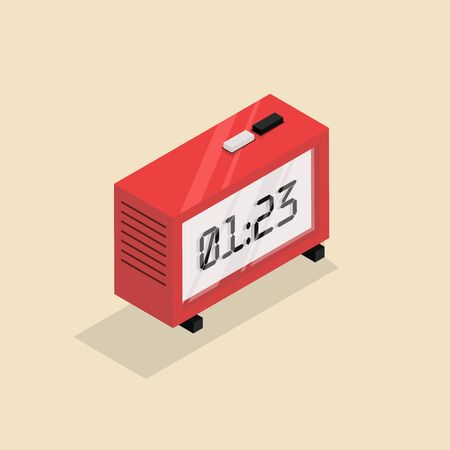Isometric image of an old retro clock.