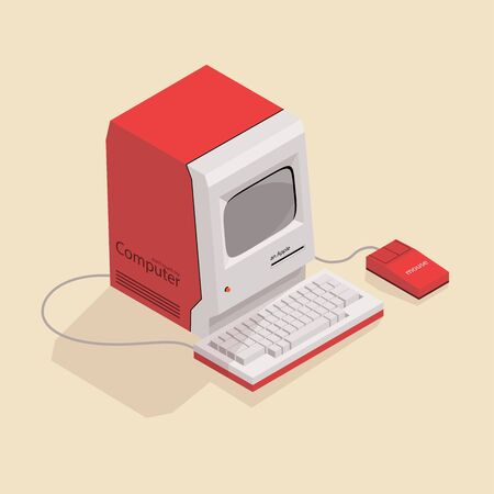 Isometric image of an old retro computer. Illustration