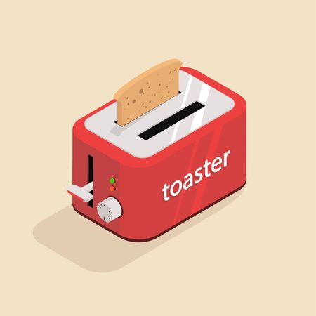 Isometric image of an old retro toaster.