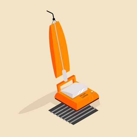 Isometric image of an old retro vacuum cleaner.
