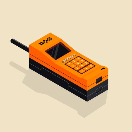 Isometric image of an old retro button cellphone.
