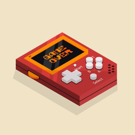 Isometric image of an old retro hand console.