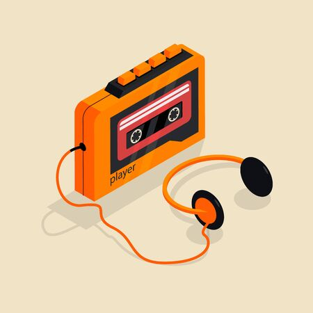 Isometric image of an old retro cassette player with headphones.