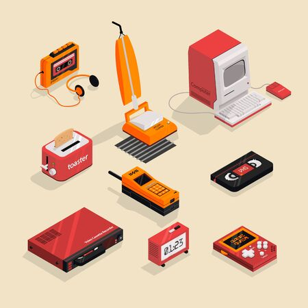 A set of 9 isometric illustrations of vintage objects. Retro style. Everyday objects. Ilustração