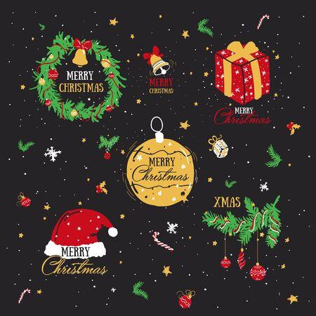 Set of symbols of Christmas and new year. Cartoon drawings.