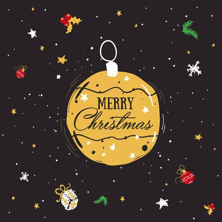 Golden christmas ball in cartoon style. Christmas decorations with the inscription