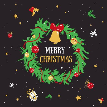 Christmas wreath in cartoon style. Christmas decorations with the inscription