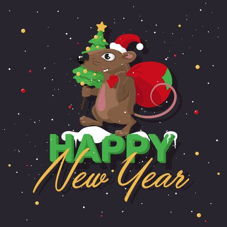 Vector illustration for new year of the rat. A rat in a red hat with a small Christmas tree in its paws and a red gift bag. Ilustração