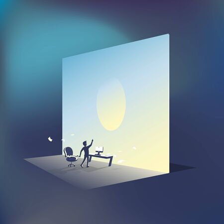 Vector image for infographics a man office worker looks to a bright future.
